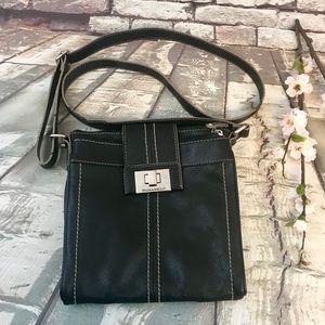 Tignanello Black Leather Cross Body Shoulder Bag